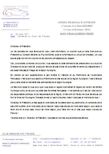 Courrier Club Mégane RS - Conseil Régional