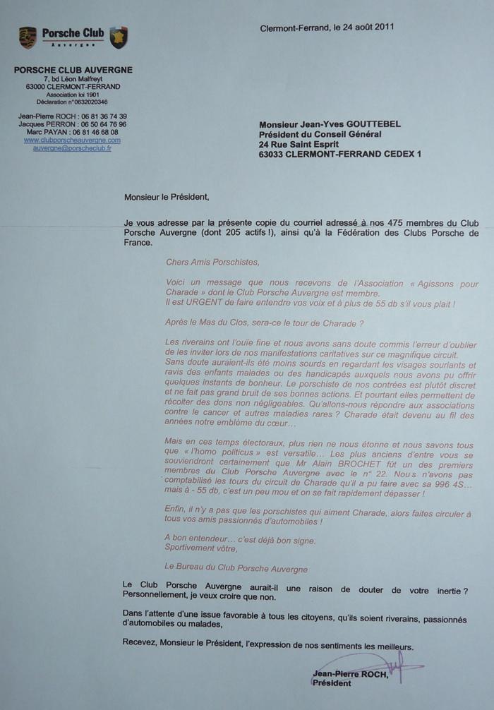 Lettre du Club Porsche Auvergne au CG63