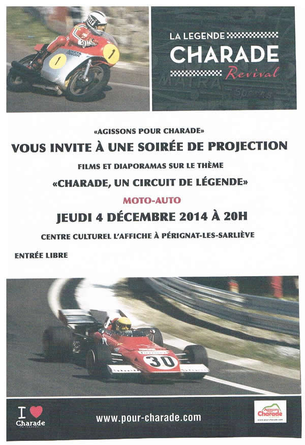 projection FILMS ET DIAPORAMAS CHARADE UN CIRCUIT DE LEGENDE